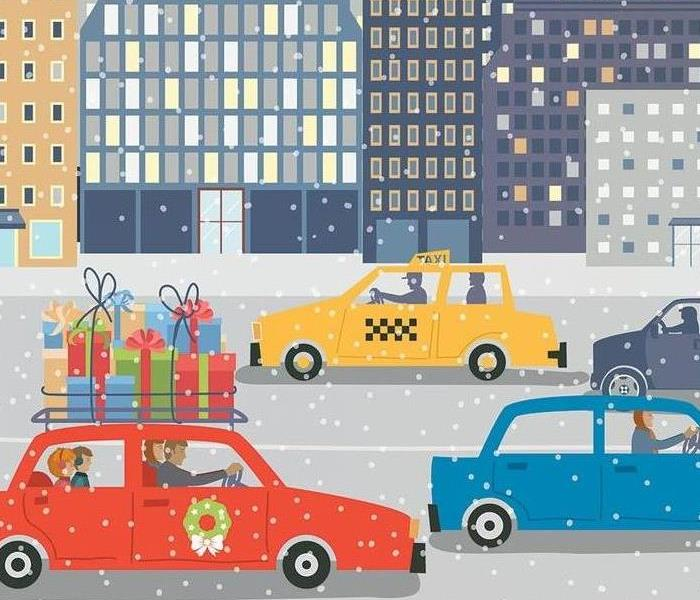 an image of cars on a snowy highway with a city in the background. Some cars have Christmas decorations on them.